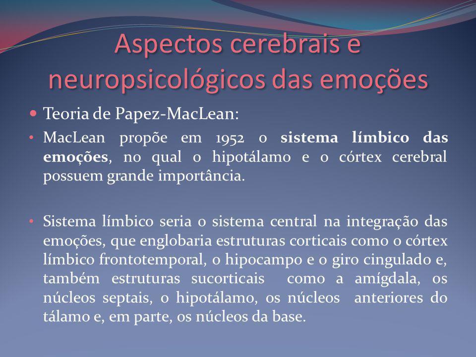 Aspectos cerebrais e neuropsicológicos das emoções Teoria de Papez-MacLean: MacLean propõe em 1952 o sistema límbico das emoções, no qual o hipotálamo e o córtex cerebral possuem grande importância.