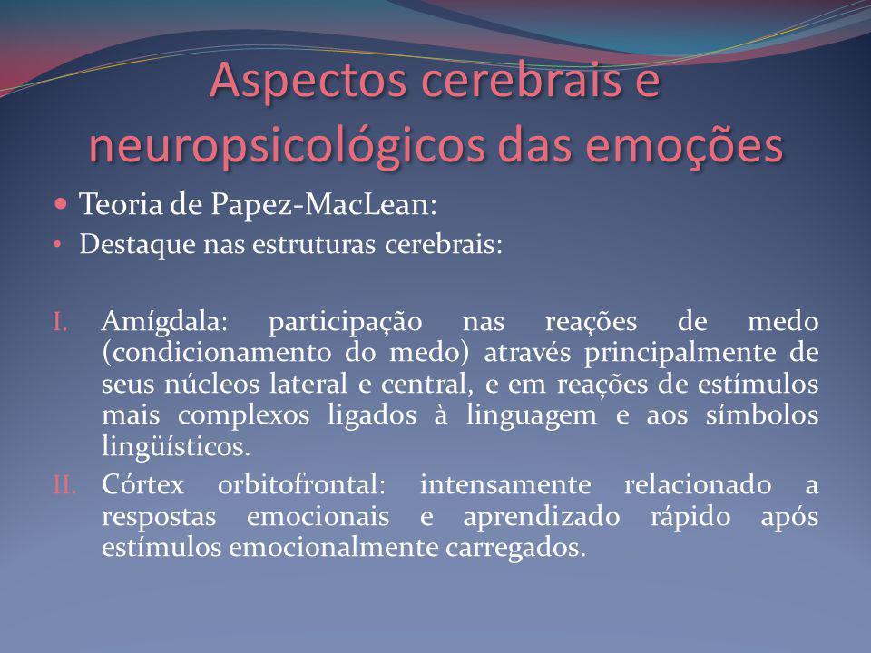 Aspectos cerebrais e neuropsicológicos das emoções Teoria de Papez-MacLean: Destaque nas estruturas cerebrais: I.