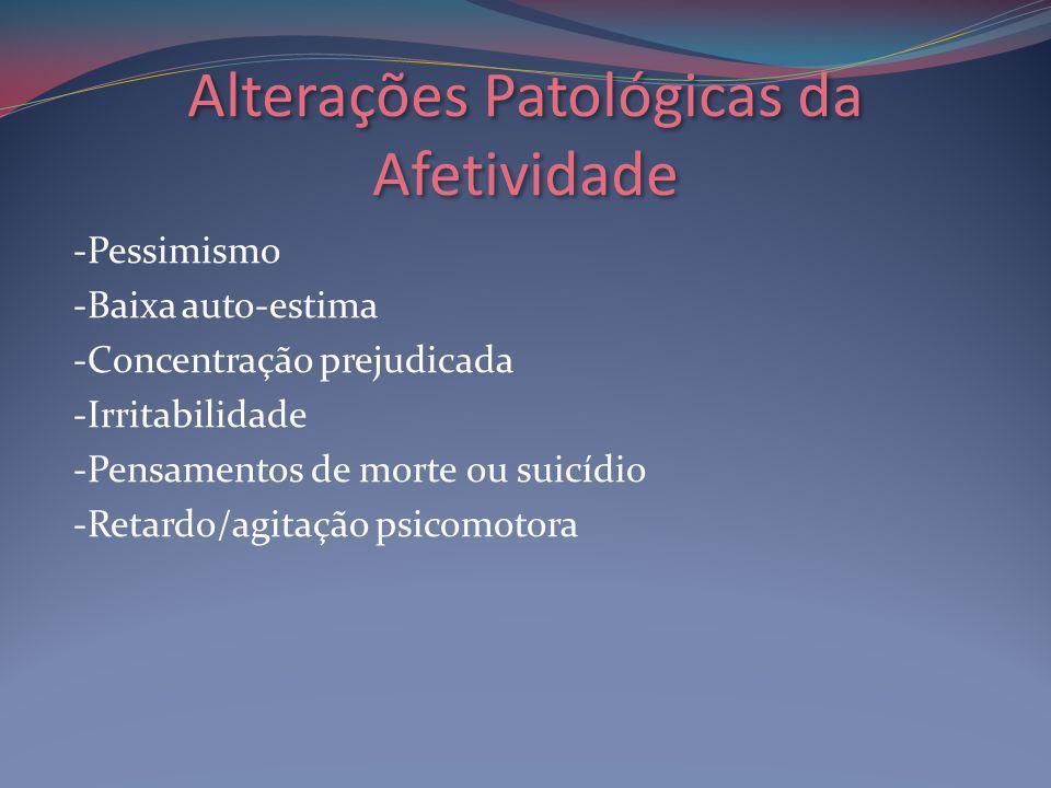 Alterações Patológicas da Afetividade -Pessimismo -Baixa auto-estima -Concentração prejudicada -Irritabilidade -Pensamentos de morte ou suicídio -Retardo/agitação psicomotora