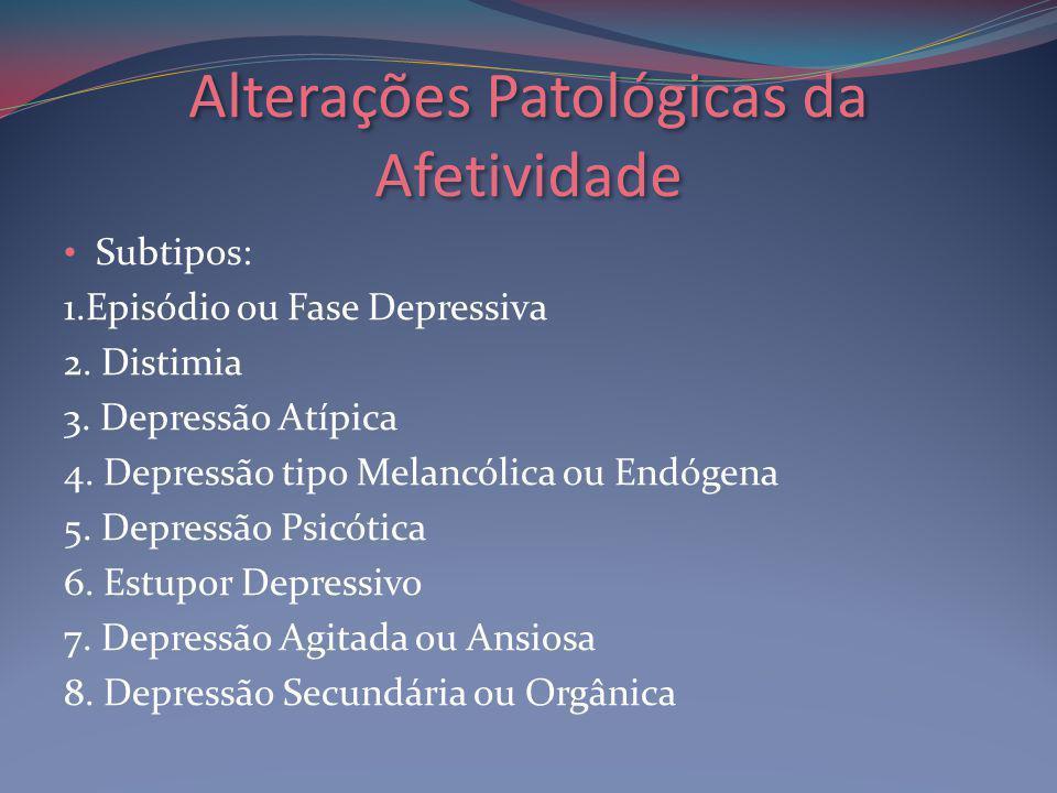 Alterações Patológicas da Afetividade Subtipos: 1.Episódio ou Fase Depressiva 2.