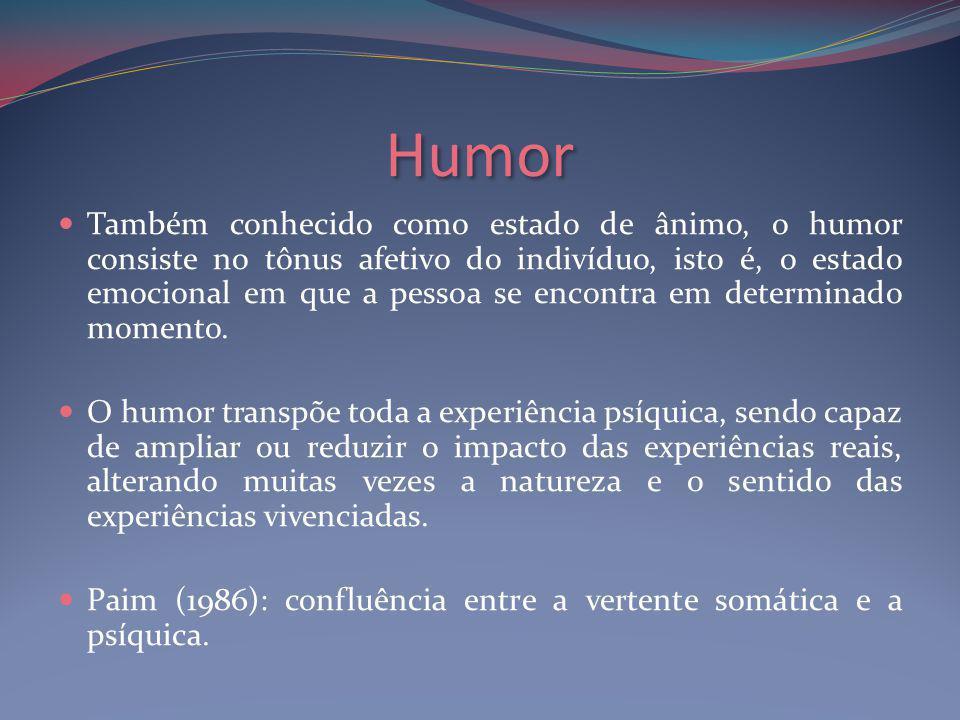 Humor Também conhecido como estado de ânimo, o humor consiste no tônus afetivo do indivíduo, isto é, o estado emocional em que a pessoa se encontra em determinado momento.