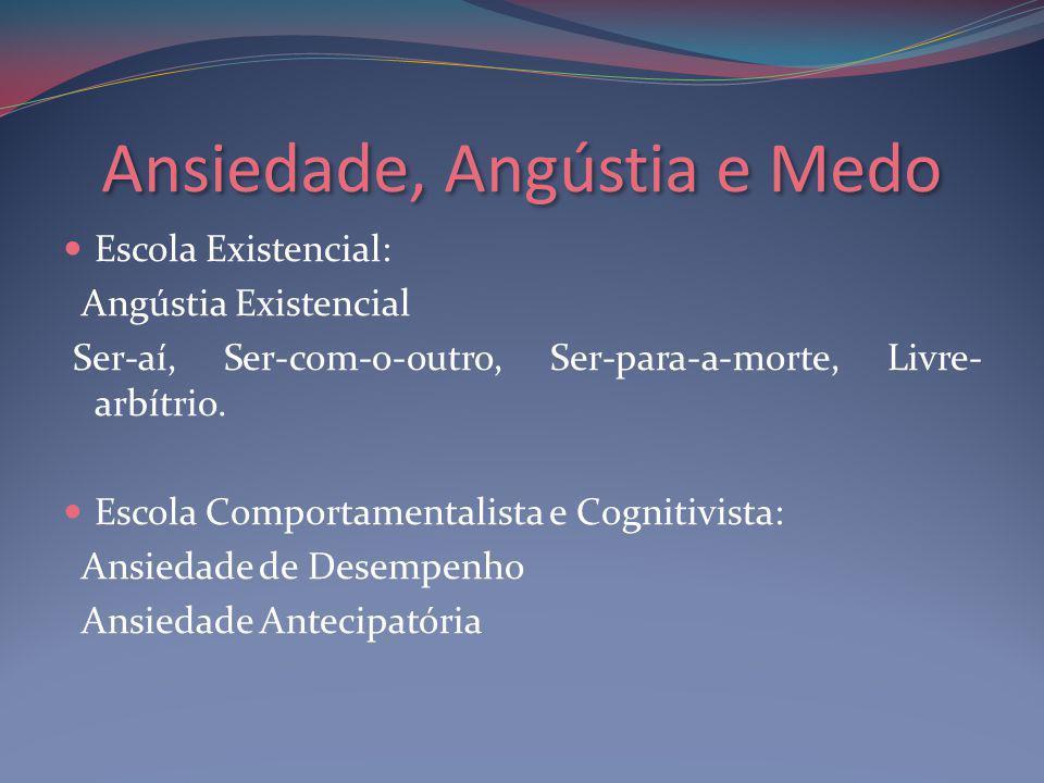 Ansiedade, Angústia e Medo Escola Existencial: Angústia Existencial Ser-aí, Ser-com-o-outro, Ser-para-a-morte, Livre- arbítrio.