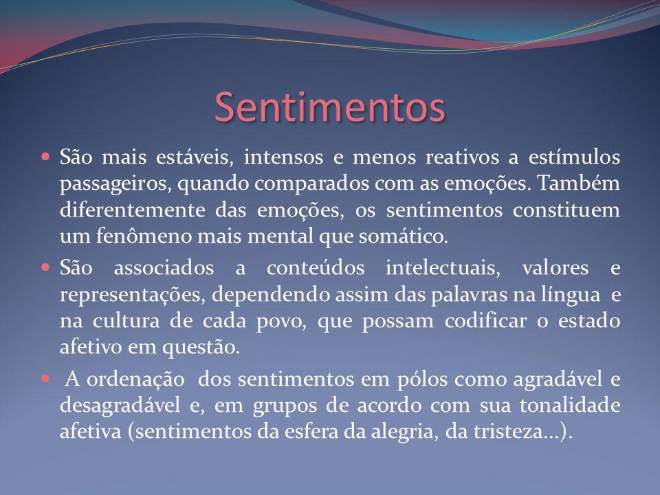 Sentimentos São mais estáveis, intensos e menos reativos a estímulos passageiros, quando comparados com as emoções.