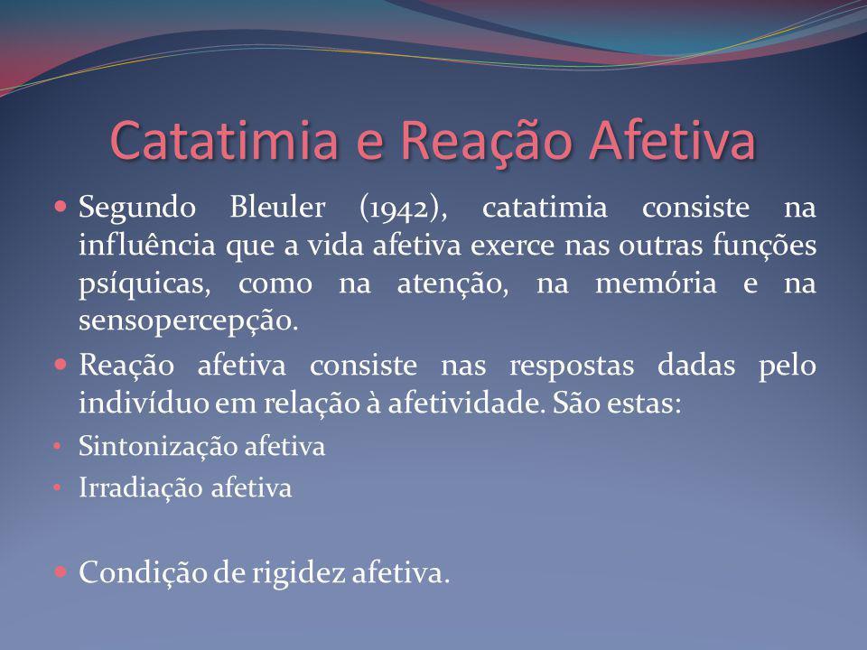 Catatimia e Reação Afetiva Segundo Bleuler (1942), catatimia consiste na influência que a vida afetiva exerce nas outras funções psíquicas, como na atenção, na memória e na sensopercepção.