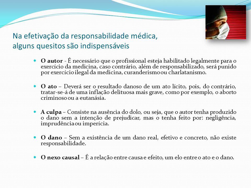 Na efetivação da responsabilidade médica, alguns quesitos são indispensáveis O autor - É necessário que o profissional esteja habilitado legalmente pa