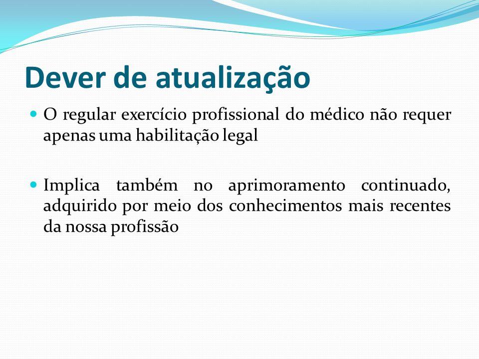 Dever de atualização O regular exercício profissional do médico não requer apenas uma habilitação legal Implica também no aprimoramento continuado, ad