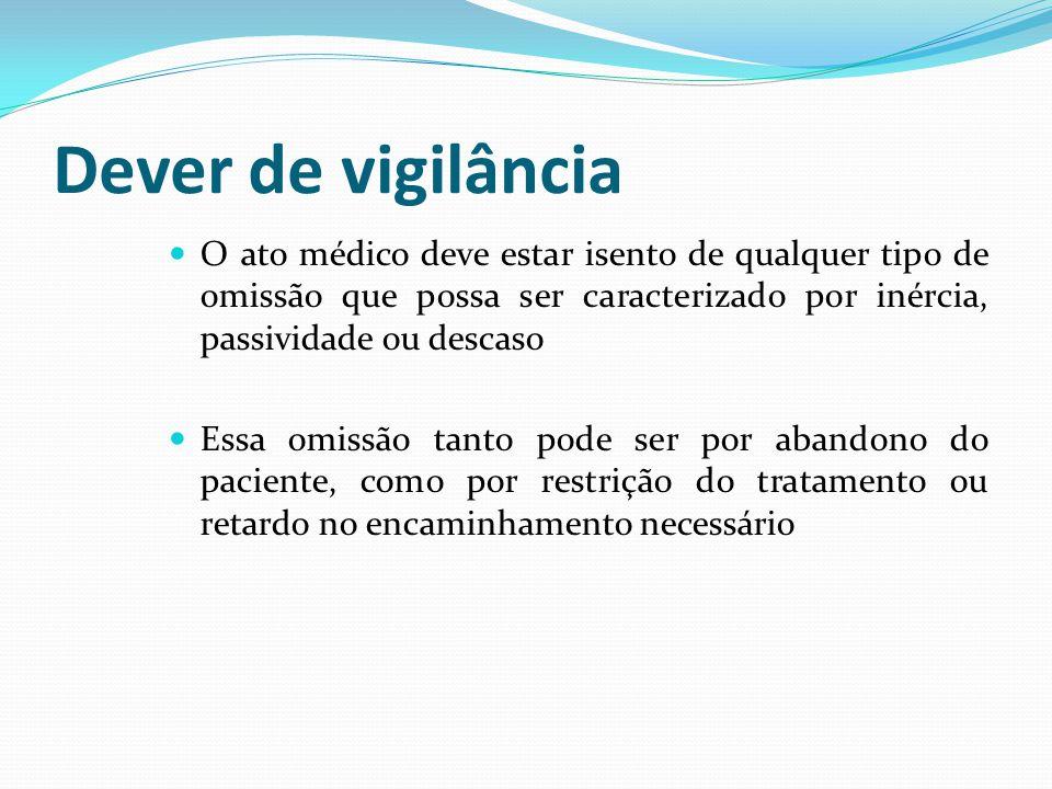 Dever de vigilância O ato médico deve estar isento de qualquer tipo de omissão que possa ser caracterizado por inércia, passividade ou descaso Essa om