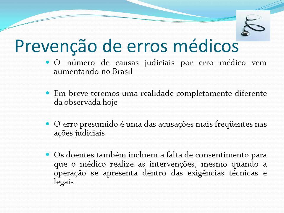 Prevenção de erros médicos O número de causas judiciais por erro médico vem aumentando no Brasil Em breve teremos uma realidade completamente diferent