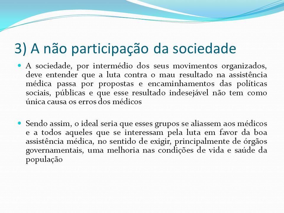 3) A não participação da sociedade A sociedade, por intermédio dos seus movimentos organizados, deve entender que a luta contra o mau resultado na ass