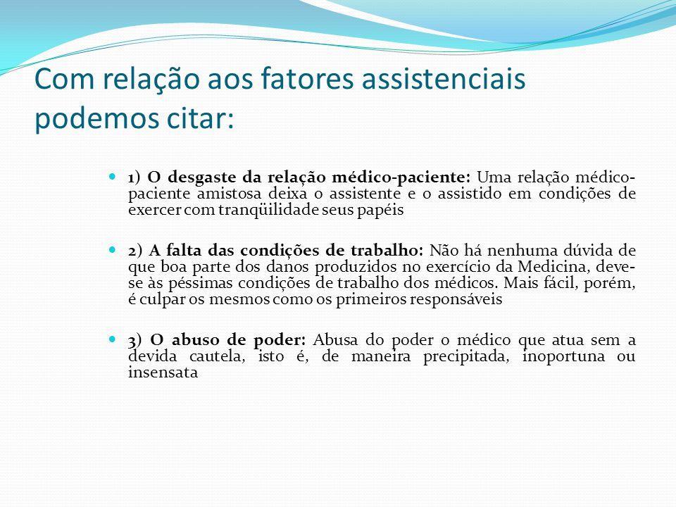 Com relação aos fatores assistenciais podemos citar: 1) O desgaste da relação médico-paciente: Uma relação médico- paciente amistosa deixa o assistent