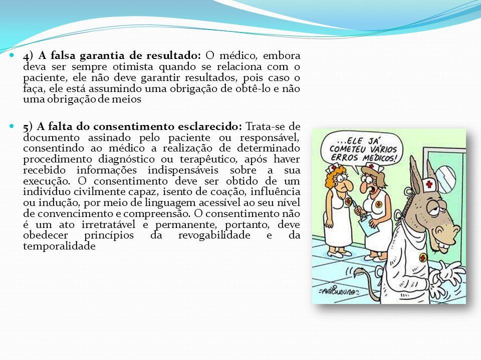 4) A falsa garantia de resultado: O médico, embora deva ser sempre otimista quando se relaciona com o paciente, ele não deve garantir resultados, pois