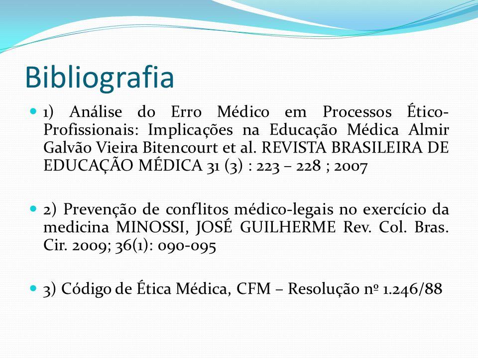 Bibliografia 1) Análise do Erro Médico em Processos Ético- Profissionais: Implicações na Educação Médica Almir Galvão Vieira Bitencourt et al. REVISTA