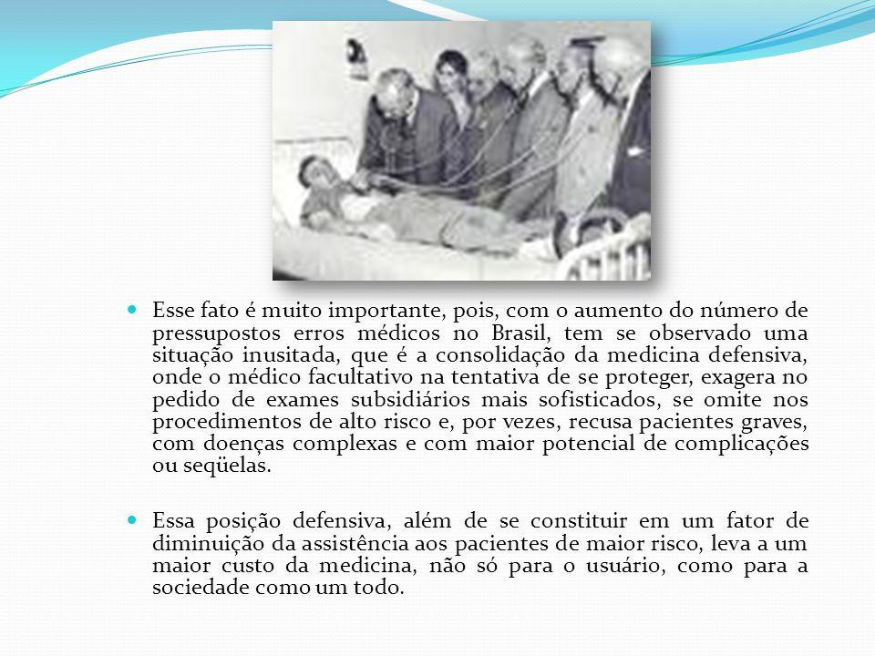 Esse fato é muito importante, pois, com o aumento do número de pressupostos erros médicos no Brasil, tem se observado uma situação inusitada, que é a