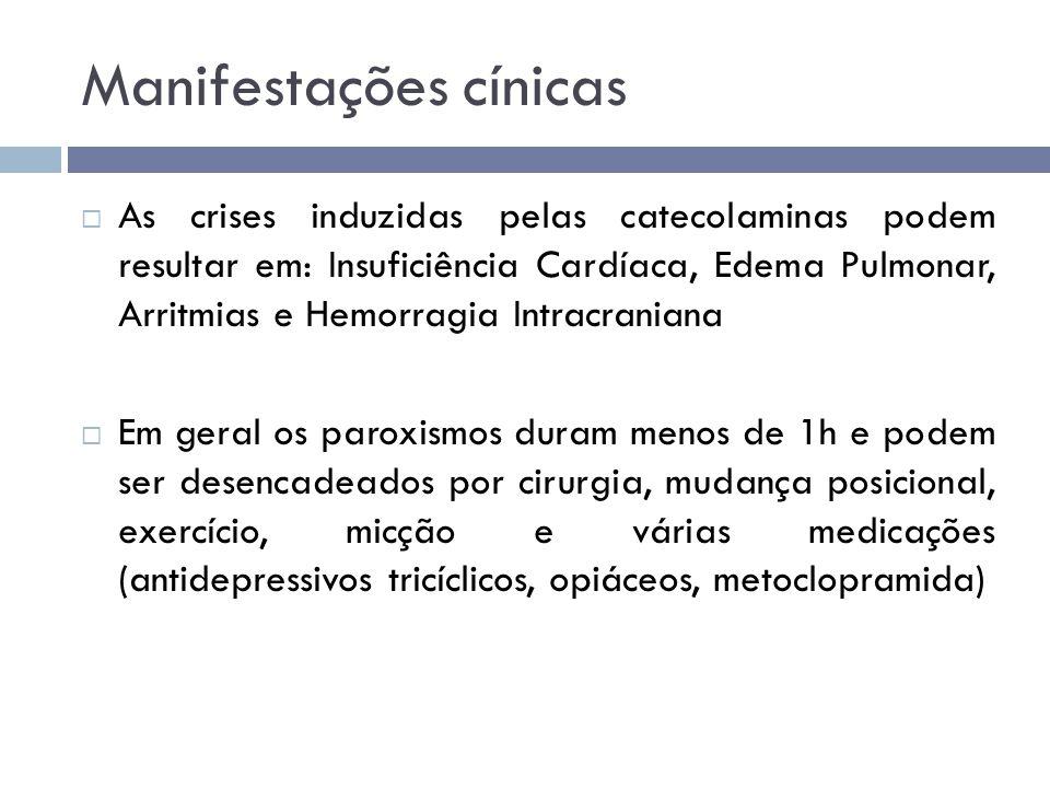 Manifestações cínicas  As crises induzidas pelas catecolaminas podem resultar em: Insuficiência Cardíaca, Edema Pulmonar, Arritmias e Hemorragia Intr