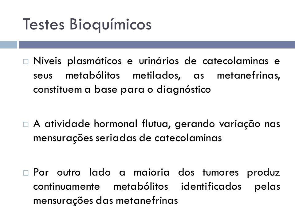 Testes Bioquímicos  Níveis plasmáticos e urinários de catecolaminas e seus metabólitos metilados, as metanefrinas, constituem a base para o diagnósti