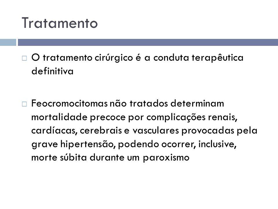 Tratamento  O tratamento cirúrgico é a conduta terapêutica definitiva  Feocromocitomas não tratados determinam mortalidade precoce por complicações