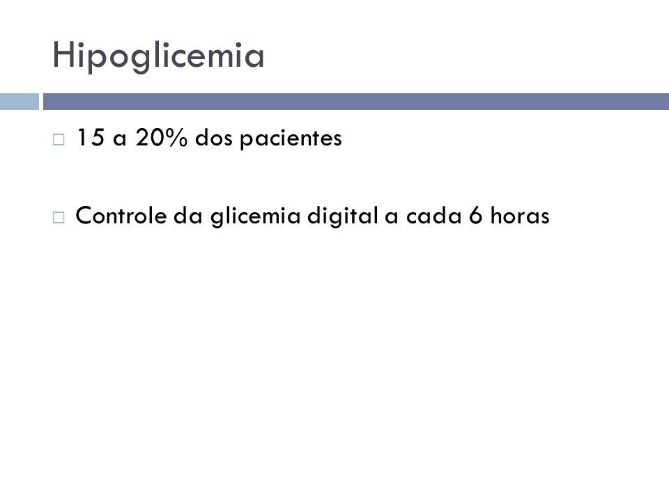 Hipoglicemia  15 a 20% dos pacientes  Controle da glicemia digital a cada 6 horas