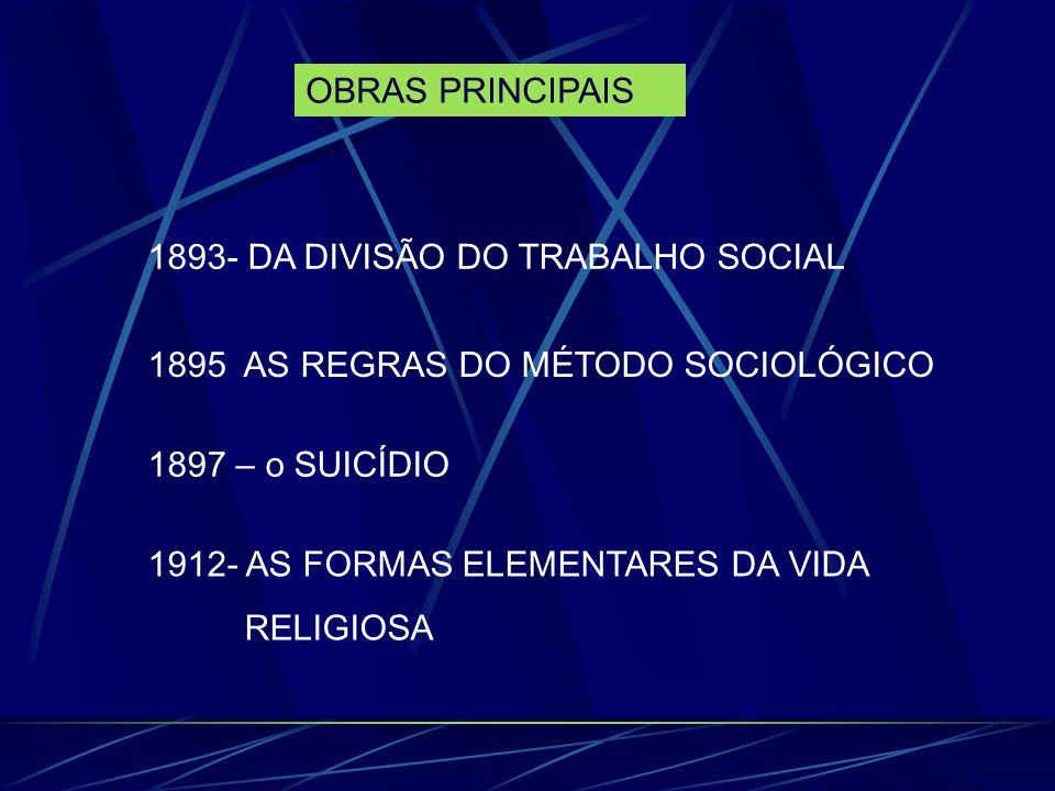 OBRAS PRINCIPAIS 1893- DA DIVISÃO DO TRABALHO SOCIAL 1895 AS REGRAS DO MÉTODO SOCIOLÓGICO 1897 – o SUICÍDIO 1912- AS FORMAS ELEMENTARES DA VIDA RELIGI