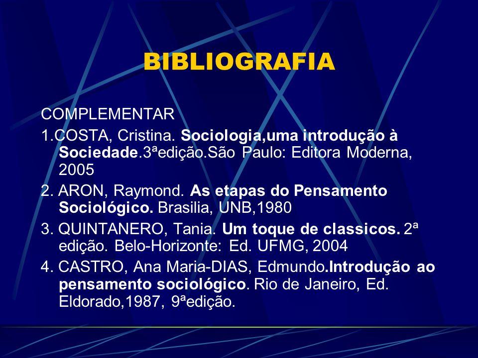 BIBLIOGRAFIA COMPLEMENTAR 1.COSTA, Cristina. Sociologia,uma introdução à Sociedade.3ªedição.São Paulo: Editora Moderna, 2005 2. ARON, Raymond. As etap