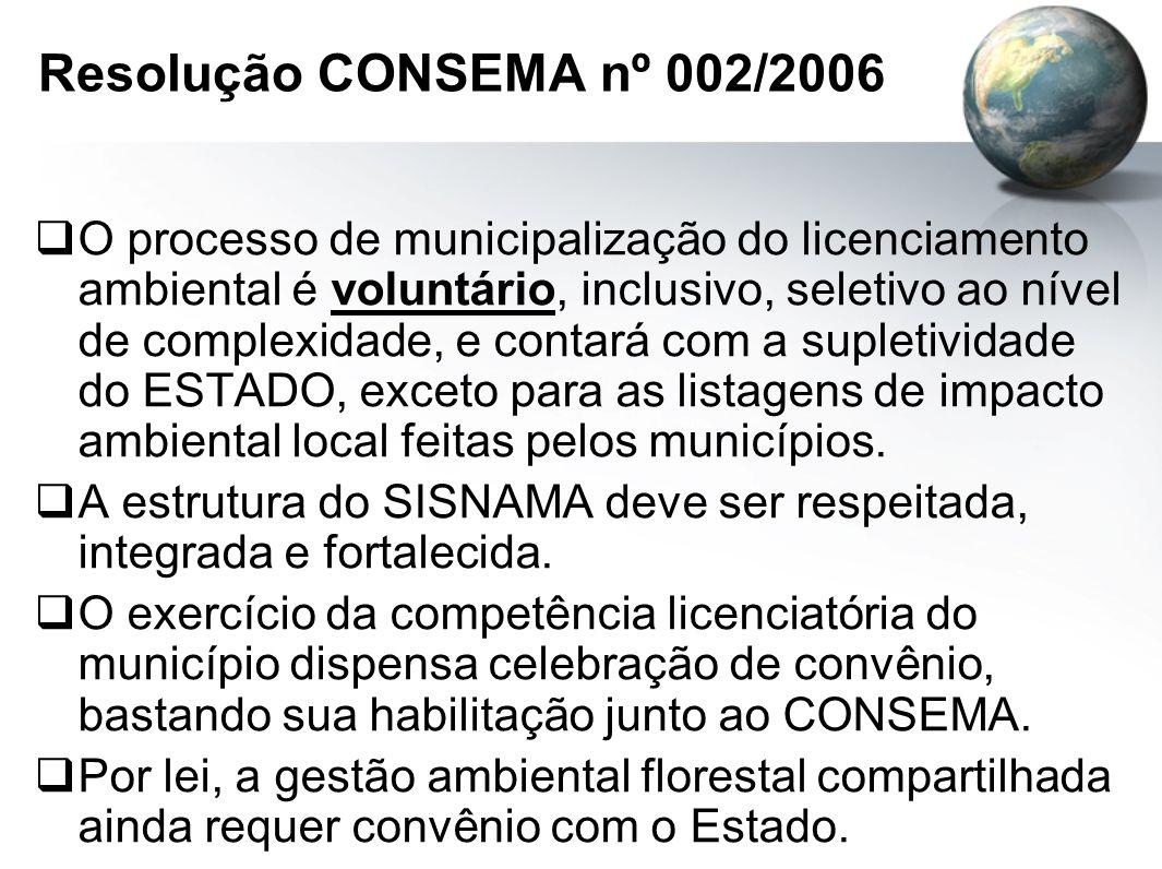 Resolução CONSEMA nº 002/2006  O processo de municipalização do licenciamento ambiental é voluntário, inclusivo, seletivo ao nível de complexidade, e contará com a supletividade do ESTADO, exceto para as listagens de impacto ambiental local feitas pelos municípios.