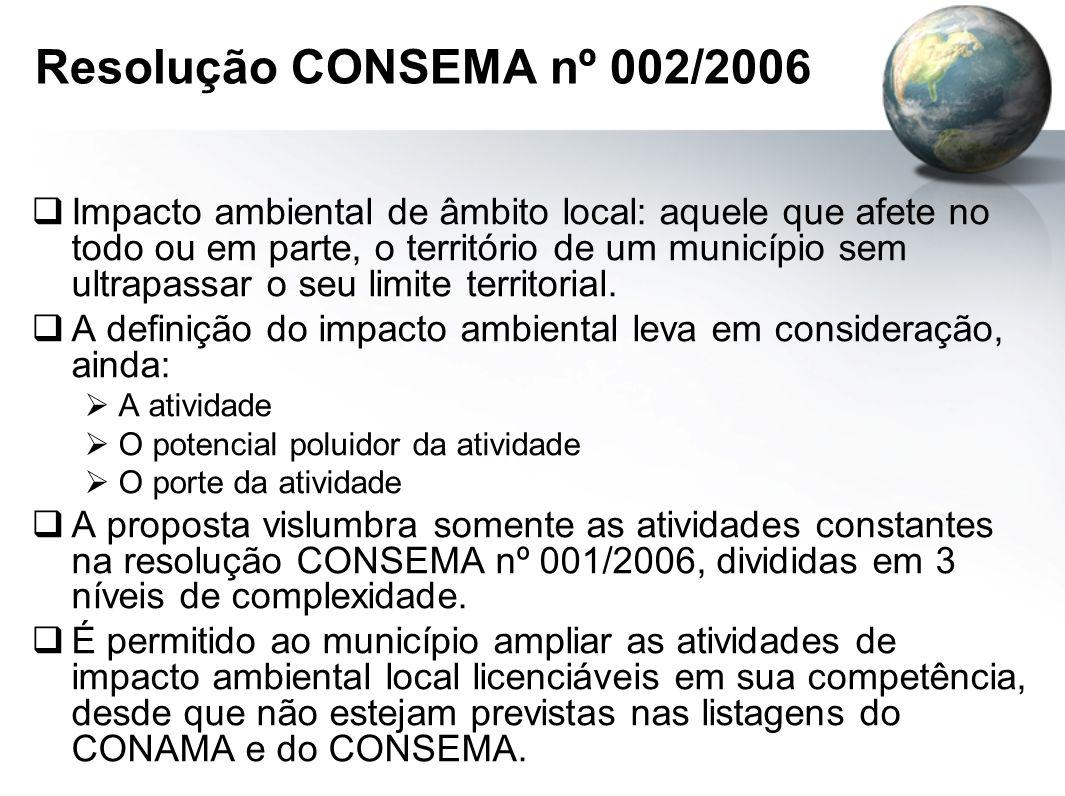 Resolução CONSEMA nº 002/2006  Impacto ambiental de âmbito local: aquele que afete no todo ou em parte, o território de um município sem ultrapassar o seu limite territorial.