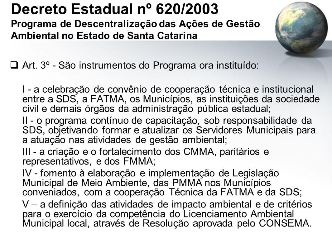 Decreto Estadual nº 620/2003 Programa de Descentralização das Ações de Gestão Ambiental no Estado de Santa Catarina  Art.