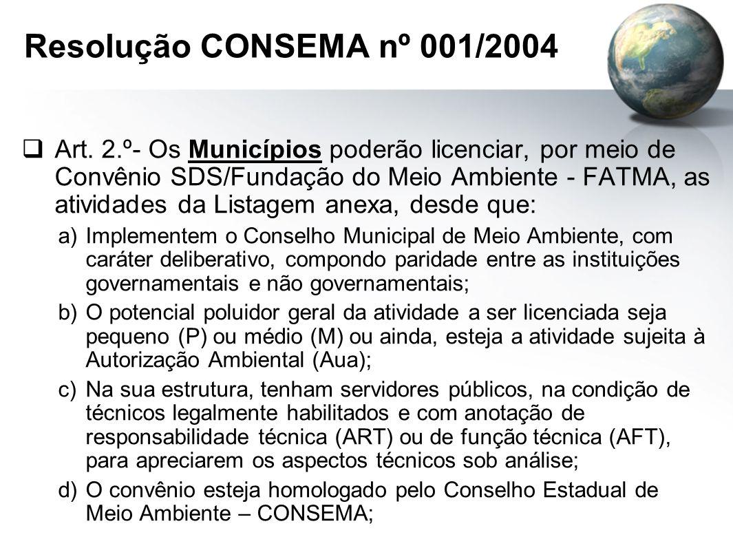 Resolução CONSEMA nº 001/2004  Art.