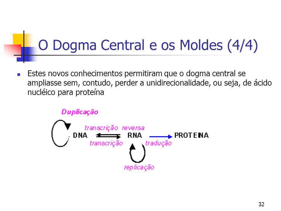 32 O Dogma Central e os Moldes (4/4) Estes novos conhecimentos permitiram que o dogma central se ampliasse sem, contudo, perder a unidirecionalidade,