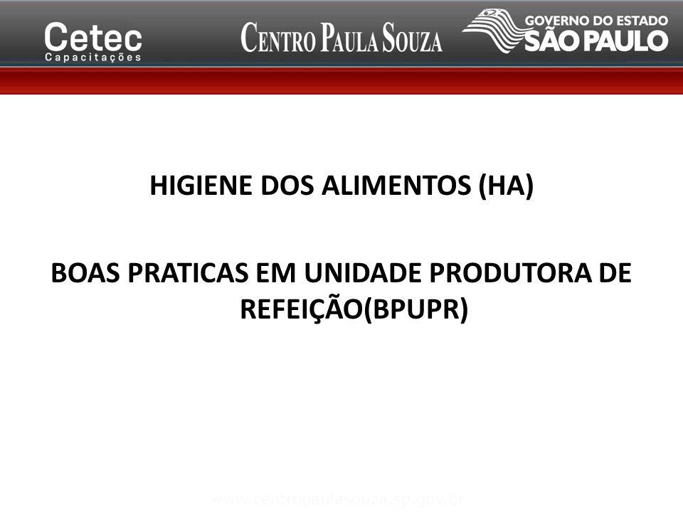 HIGIENE HIGIENE DOS ALIMENTOS (HA) BOAS PRATICAS EM UNIDADE PRODUTORA DE REFEIÇÃO(BPUPR)