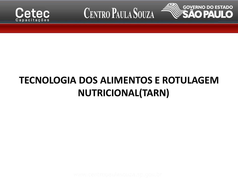 TECNOLOGIA DOS ALIMENTOS E ROTULAGEM NUTRICIONAL(TARN)