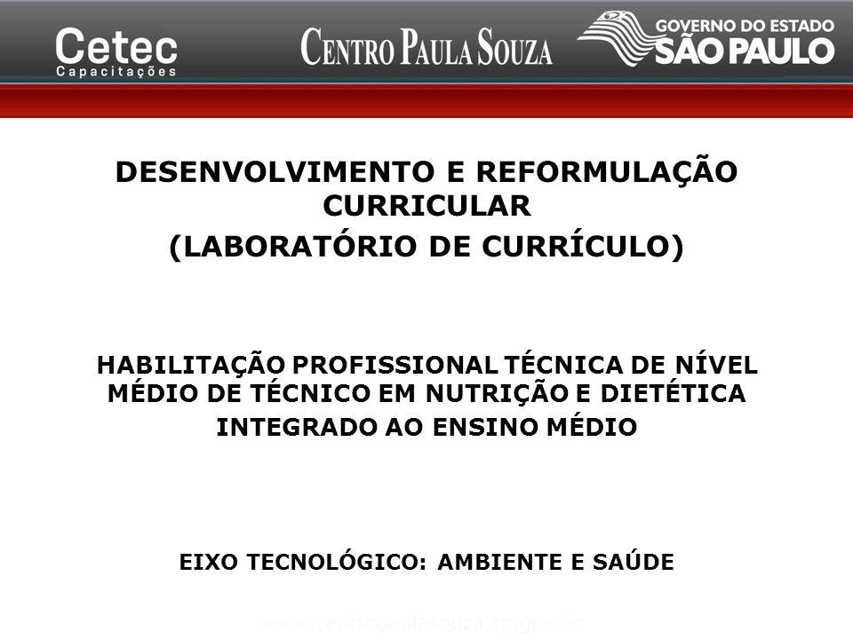 DESENVOLVIMENTO E REFORMULAÇÃO CURRICULAR (LABORATÓRIO DE CURRÍCULO) HABILITAÇÃO PROFISSIONAL TÉCNICA DE NÍVEL MÉDIO DE TÉCNICO EM NUTRIÇÃO E DIETÉTICA INTEGRADO AO ENSINO MÉDIO EIXO TECNOLÓGICO: AMBIENTE E SAÚDE