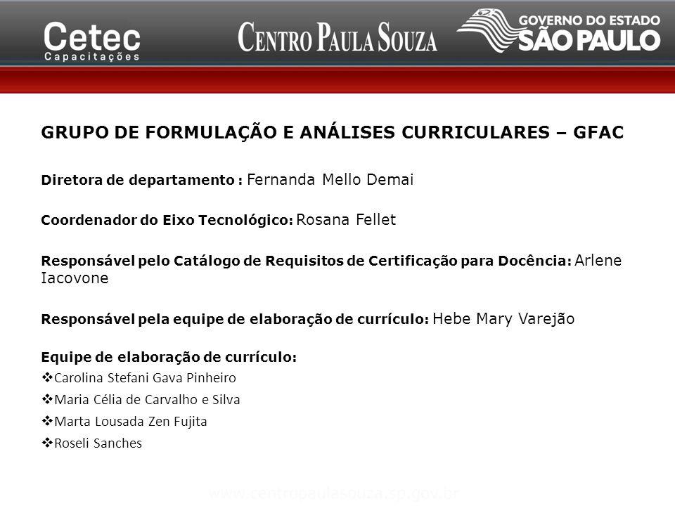 GRUPO DE FORMULAÇÃO E ANÁLISES CURRICULARES – GFAC Diretora de departamento : Fernanda Mello Demai Coordenador do Eixo Tecnológico: Rosana Fellet Resp