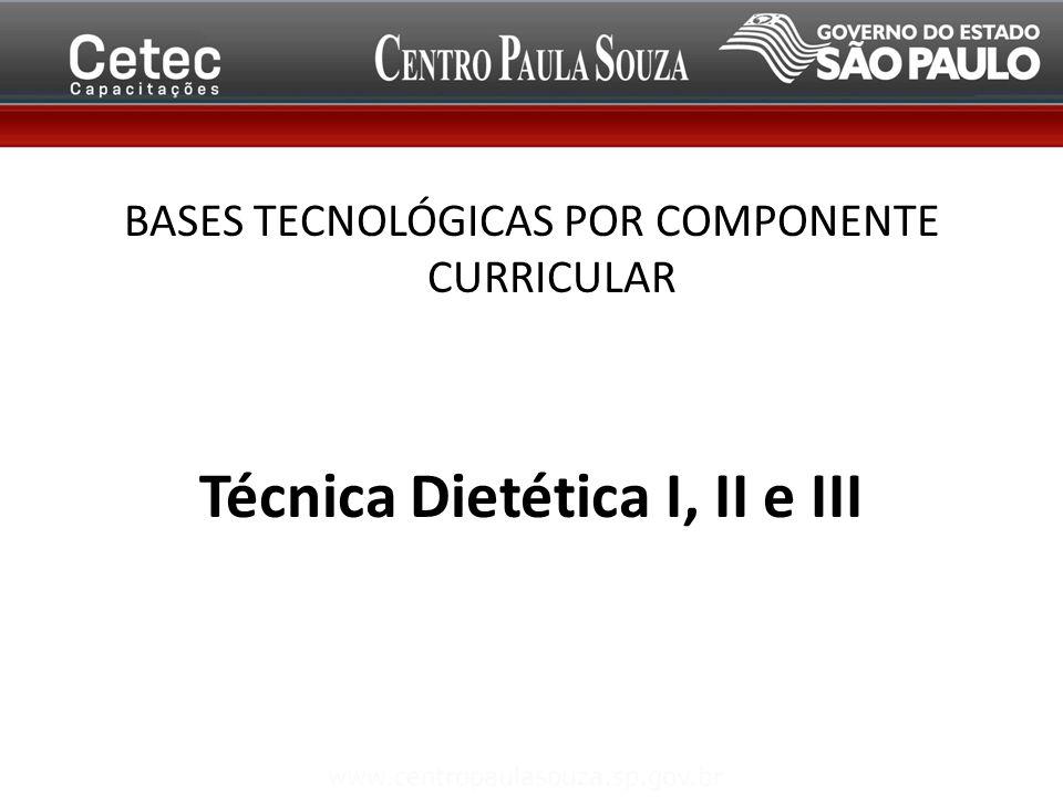 BASES TECNOLÓGICAS POR COMPONENTE CURRICULAR Técnica Dietética I, II e III