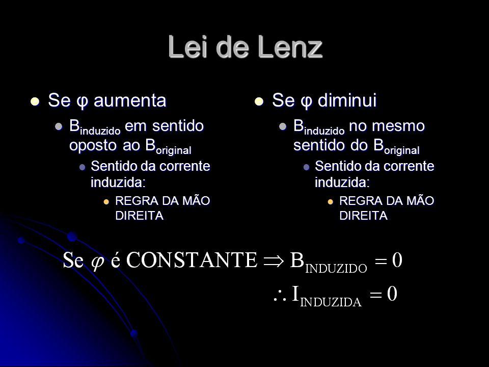 Lei de Lenz Se φ aumenta Se φ aumenta B induzido em sentido oposto ao B original B induzido em sentido oposto ao B original Sentido da corrente induzi