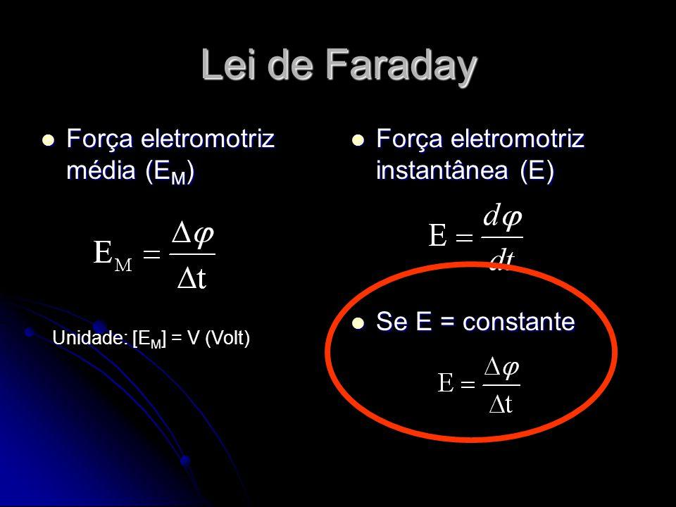 Lei de Faraday Força eletromotriz média (E M ) Força eletromotriz média (E M ) Força eletromotriz instantânea (E) Força eletromotriz instantânea (E) Se E = constante Se E = constante Unidade: [E M ] = V (Volt)