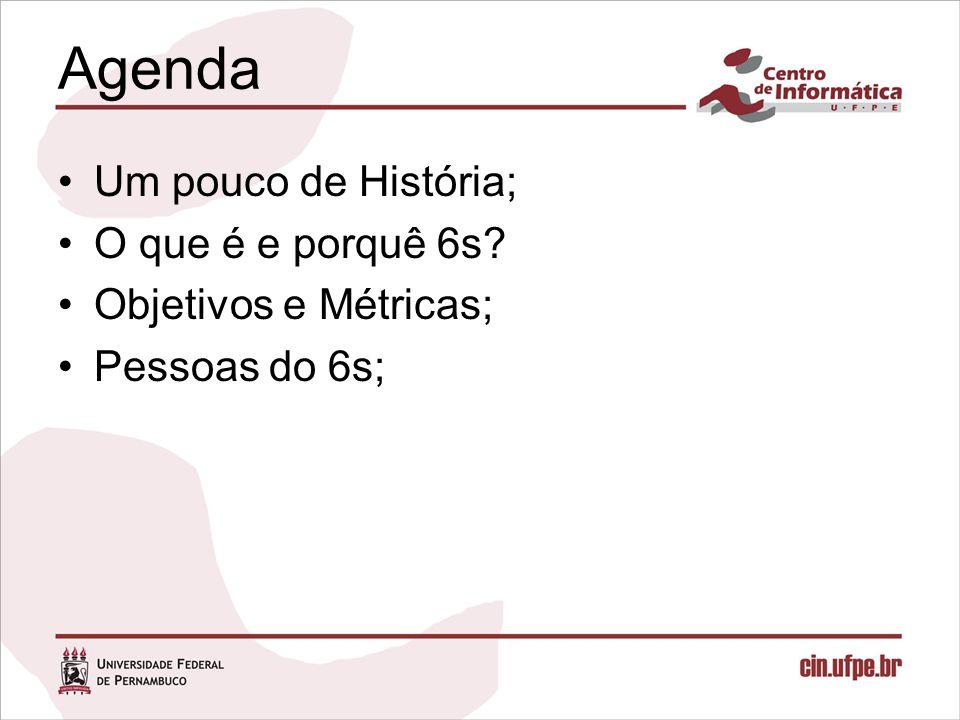 Agenda Um pouco de História; O que é e porquê 6s? Objetivos e Métricas; Pessoas do 6s;