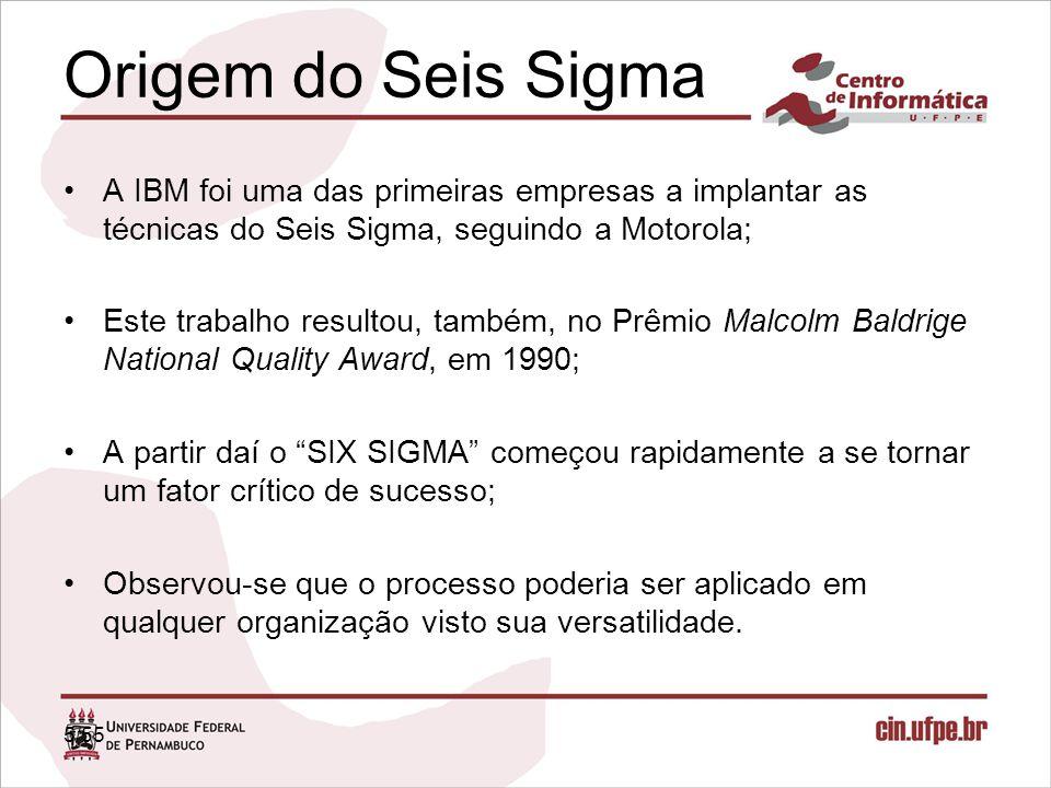 5/55 Origem do Seis Sigma A IBM foi uma das primeiras empresas a implantar as técnicas do Seis Sigma, seguindo a Motorola; Este trabalho resultou, tam