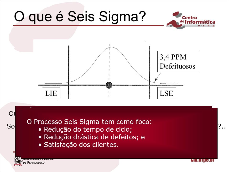 8/55 Seis Sigma O conceito estatístico, primeiramente, considera que o comportamento do processo segue a distribuição normal de probabilidades; Baseado nesta premissa, busca-se reduzir gradativamente a variabilidade de um processo até que se atinja um fator de 99,99966% de sucesso ou seja 3,4 PPM (Seis vezes o desvio padrão);