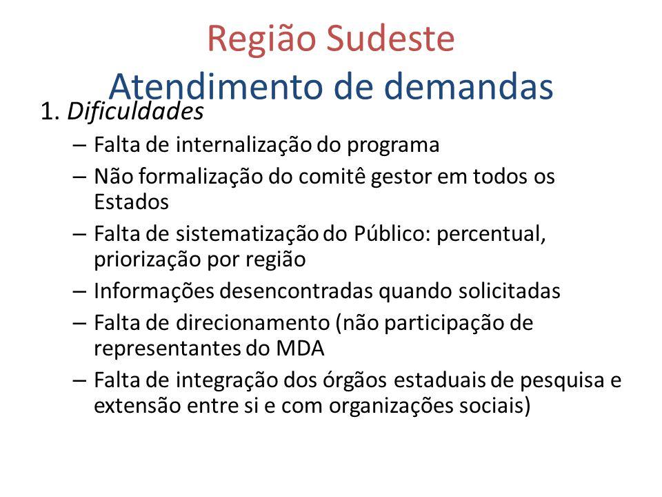 Região Sudeste Atendimento de demandas 1. Dificuldades – Falta de internalização do programa – Não formalização do comitê gestor em todos os Estados –