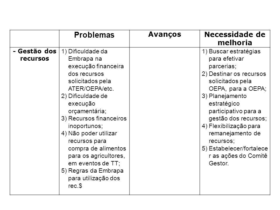 Problemas AvançosNecessidade de melhoria - Gestão dos recursos 1)Dificuldade da Embrapa na execução financeira dos recursos solicitados pela ATER/OEPA