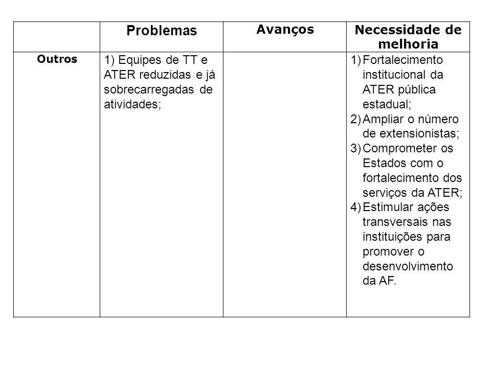 Problemas AvançosNecessidade de melhoria Outros 1) Equipes de TT e ATER reduzidas e já sobrecarregadas de atividades; 1)Fortalecimento institucional d