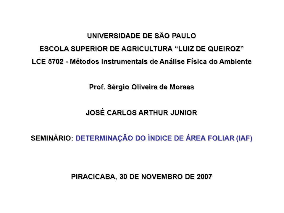 UNIVERSIDADE DE SÃO PAULO ESCOLA SUPERIOR DE AGRICULTURA LUIZ DE QUEIROZ LCE 5702 - Métodos Instrumentais de Análise Física do Ambiente Prof.