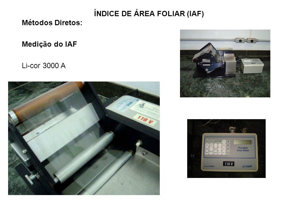 Métodos Diretos: Medição do IAF Li-cor 3000 A ÍNDICE DE ÁREA FOLIAR (IAF)