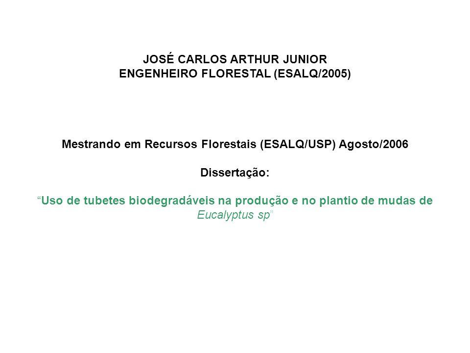JOSÉ CARLOS ARTHUR JUNIOR ENGENHEIRO FLORESTAL (ESALQ/2005) Mestrando em Recursos Florestais (ESALQ/USP) Agosto/2006 Dissertação: Uso de tubetes biodegradáveis na produção e no plantio de mudas de Eucalyptus sp