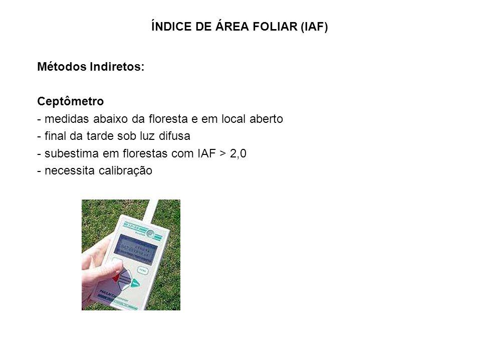Métodos Indiretos: Ceptômetro - medidas abaixo da floresta e em local aberto - final da tarde sob luz difusa - subestima em florestas com IAF > 2,0 - necessita calibração ÍNDICE DE ÁREA FOLIAR (IAF)