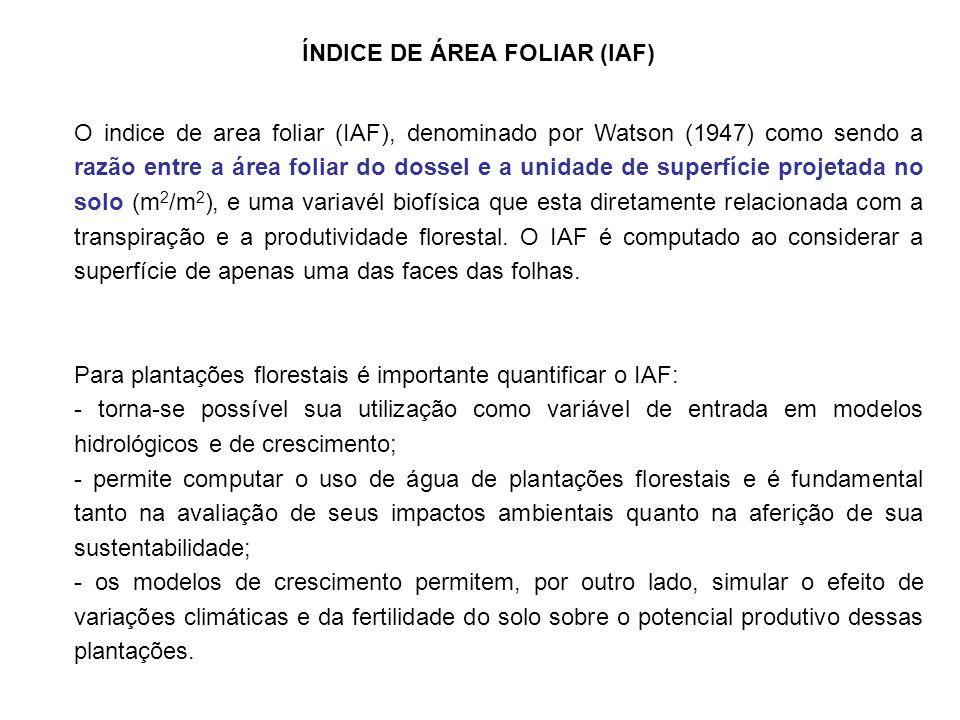 O indice de area foliar (IAF), denominado por Watson (1947) como sendo a razão entre a área foliar do dossel e a unidade de superfície projetada no solo (m 2 /m 2 ), e uma variavél biofísica que esta diretamente relacionada com a transpiração e a produtividade florestal.