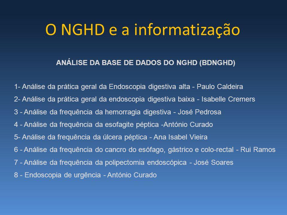 ANÁLISE DA BASE DE DADOS DO NGHD (BDNGHD) 1- Análise da prática geral da Endoscopia digestiva alta - Paulo Caldeira 2- Análise da prática geral da end