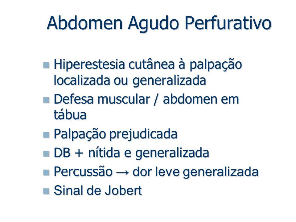 Hiperestesia cutânea à palpação localizada ou generalizada Hiperestesia cutânea à palpação localizada ou generalizada Defesa muscular / abdomen em táb