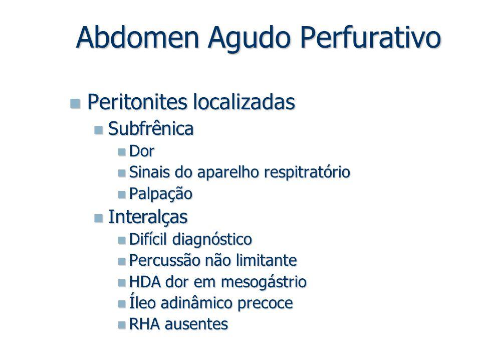 Peritonites localizadas Peritonites localizadas Subfrênica Subfrênica Dor Dor Sinais do aparelho respitratório Sinais do aparelho respitratório Palpaç
