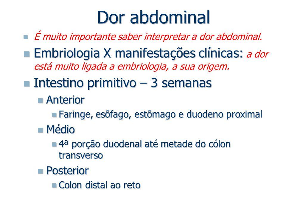 Dor abdominal É muito importante saber interpretar a dor abdominal. Embriologia X manifestações clínicas: Embriologia X manifestações clínicas: a dor